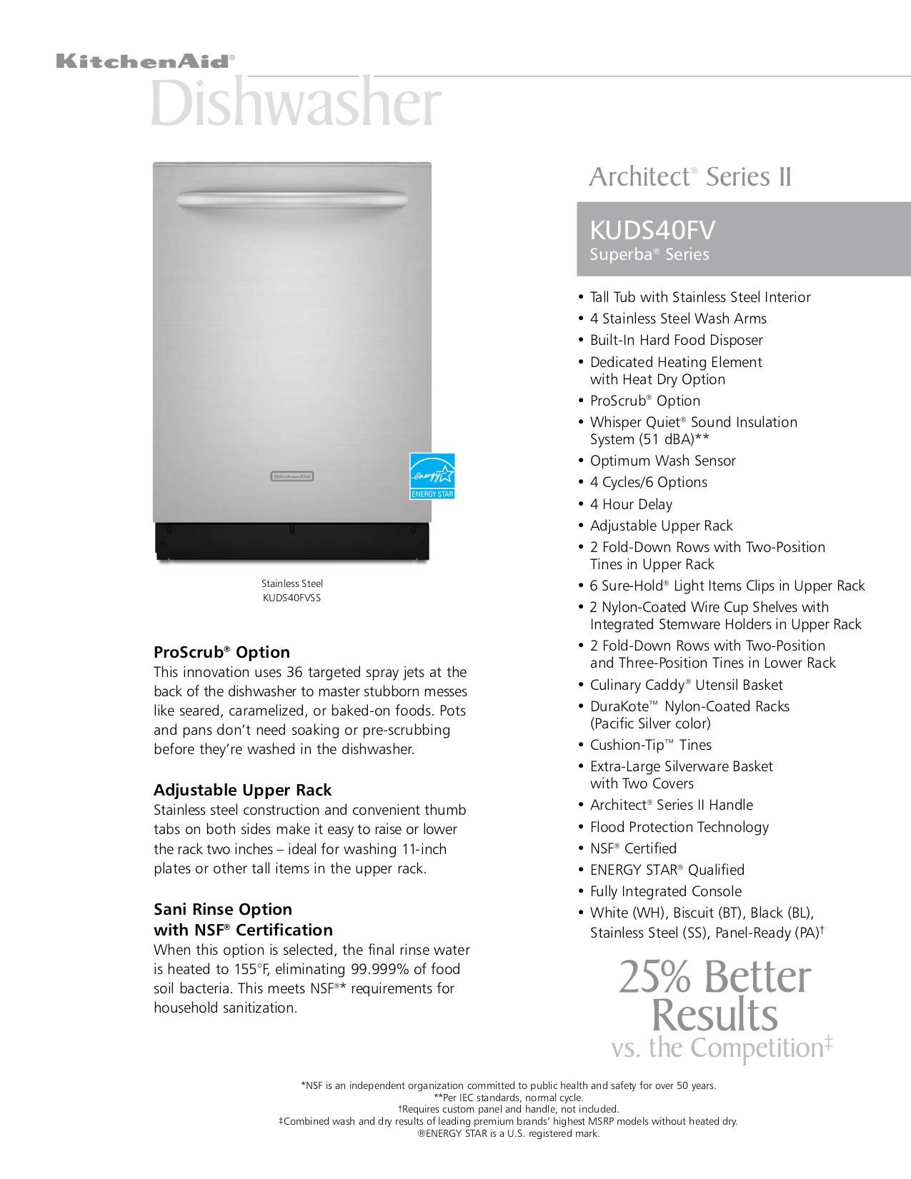 Download Free Pdf For Kitchenaid Architect Ii Kuds40fv Dishwasher Manual