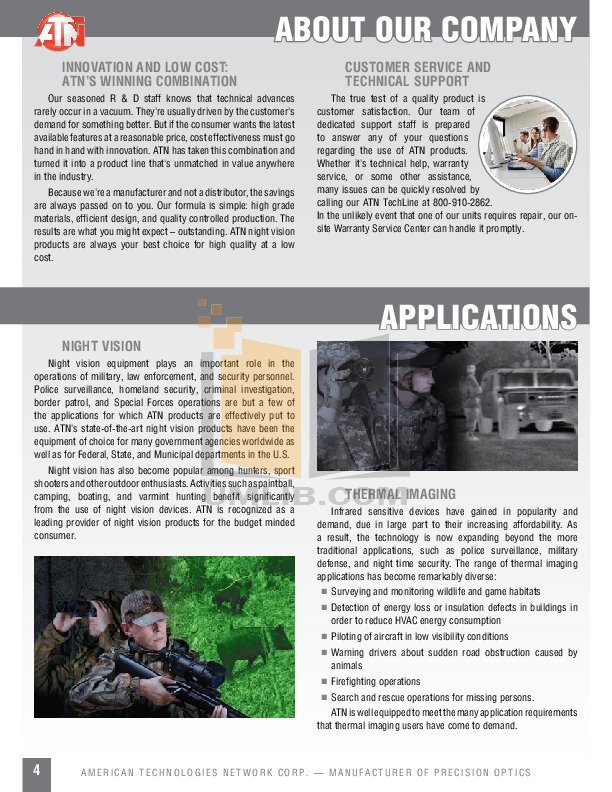 Atn Binocular Night Cougar pdf page preview