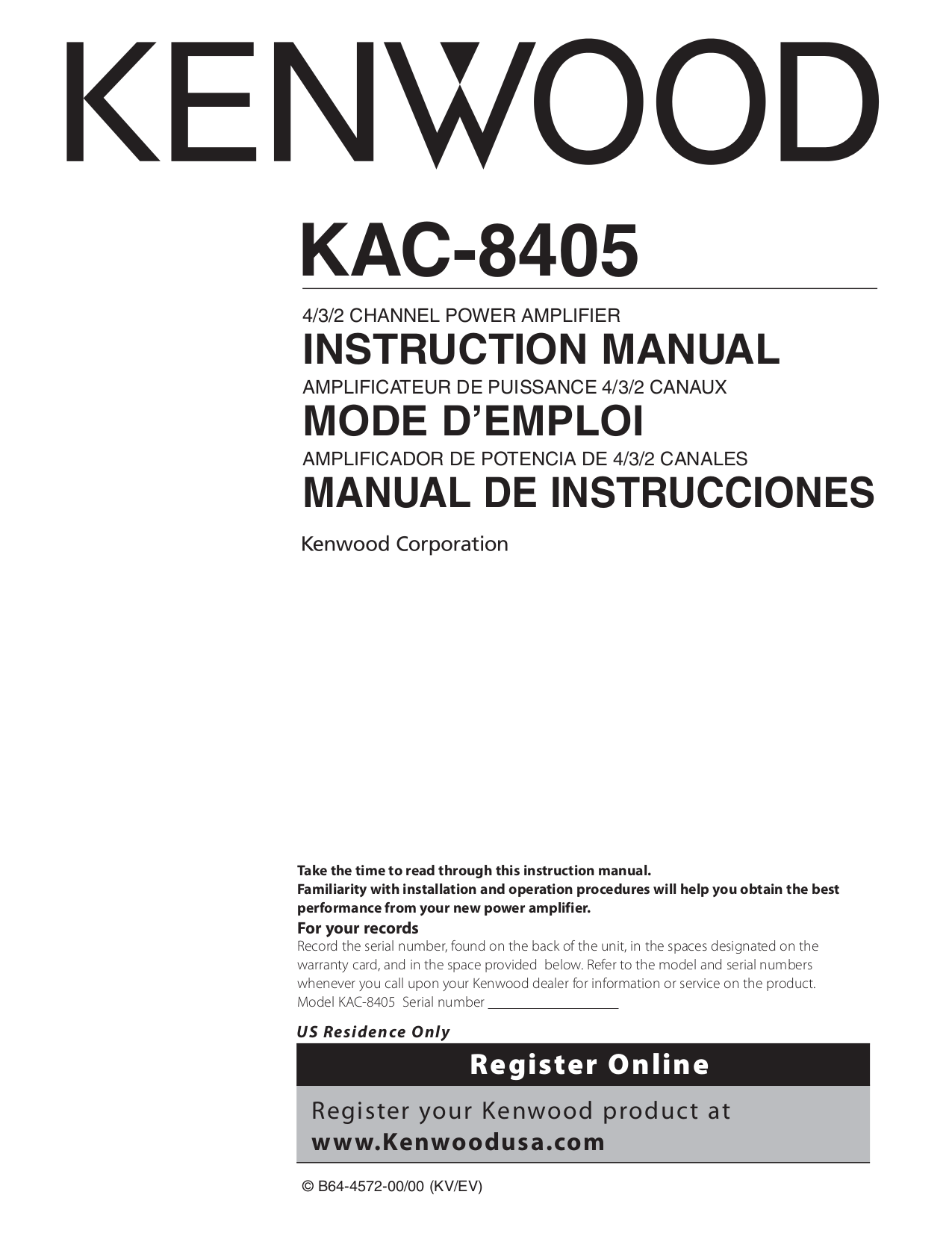 113KAC8405.PDF 0 download free pdf for kenwood kac 8405 car amplifier manual