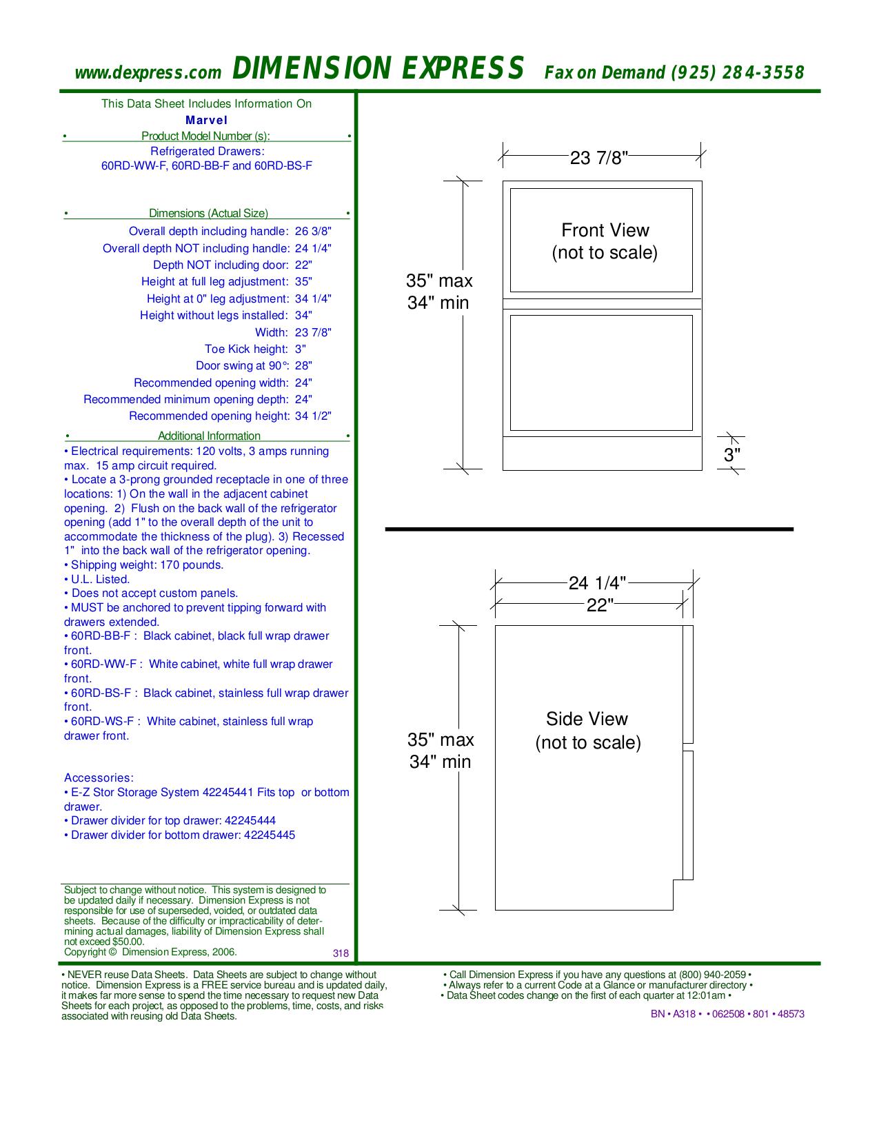 pdf for Marvel Refrigerator 60RD-BB-O manual