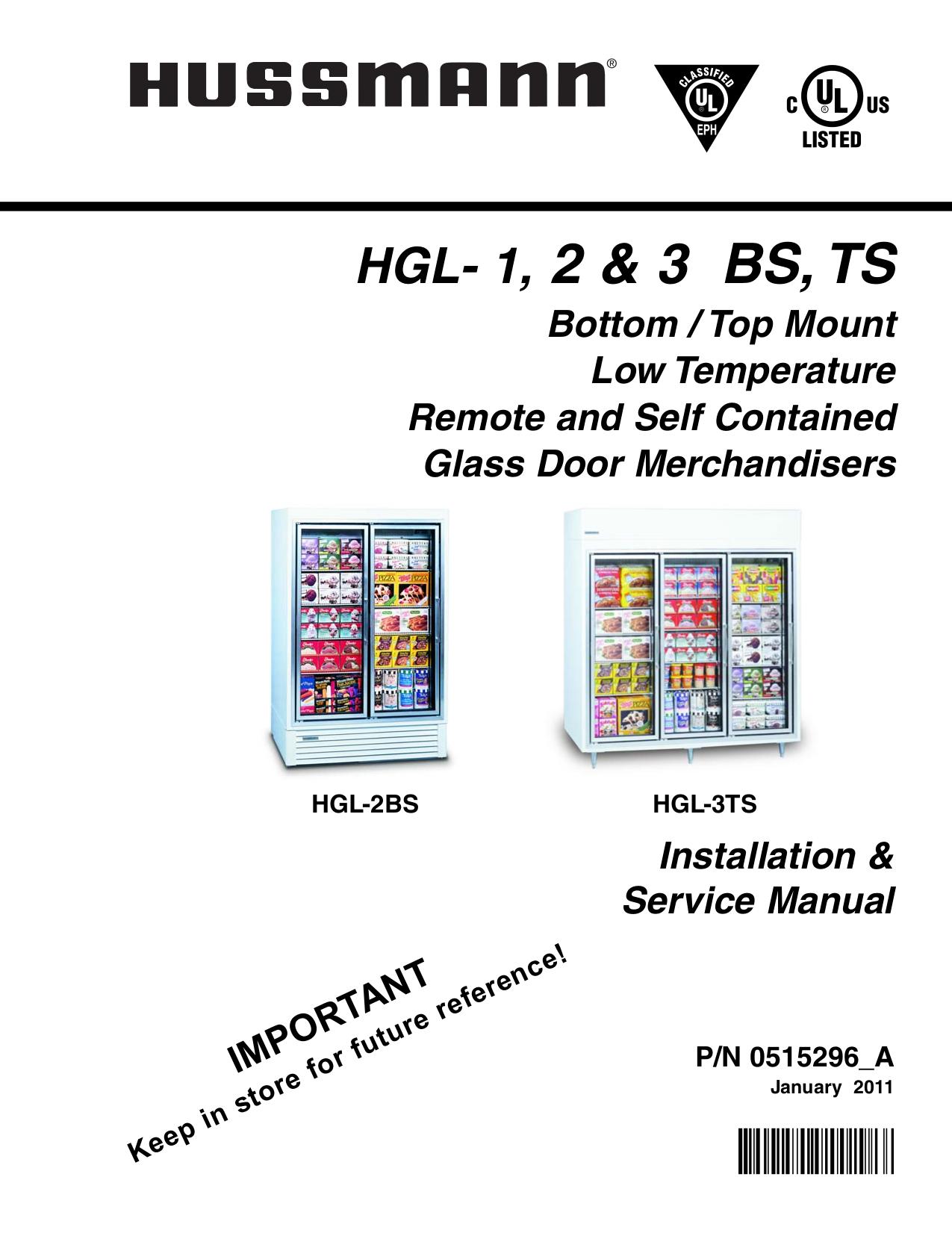 pdf for Hussmann Freezer HGL-TS manual