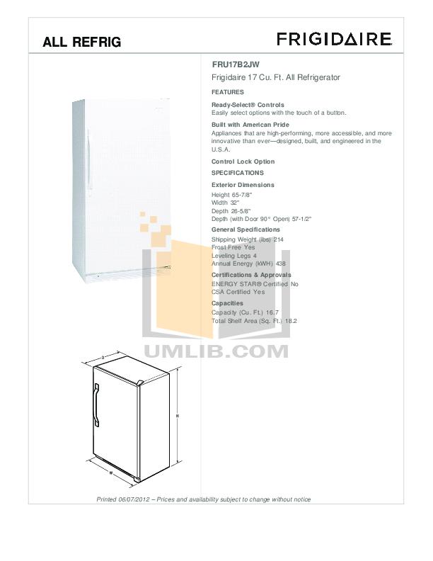 pdf for Frigidaire Refrigerator Professional FPRH19D7LF manual