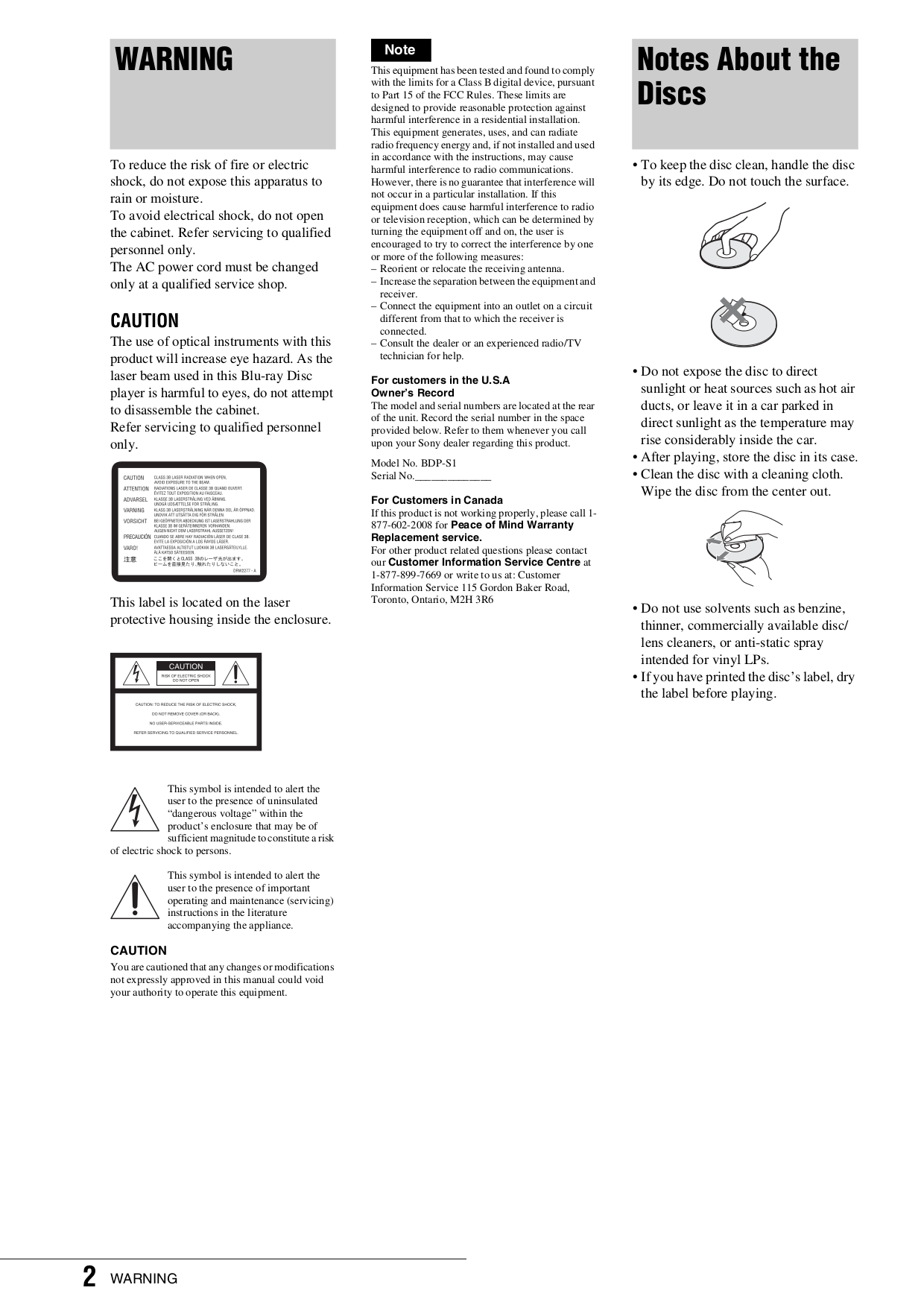 PDF manual for Sony DVD Players BDP-S1