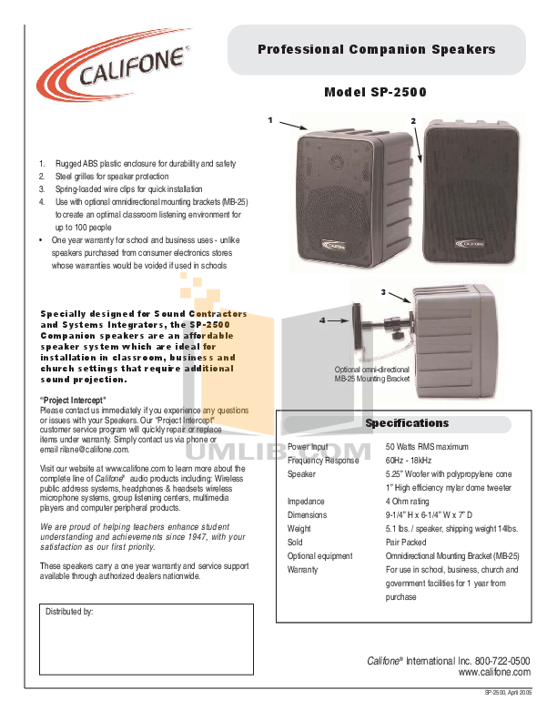 pdf for Califone Other SP-2500 Audio-Speakers manual