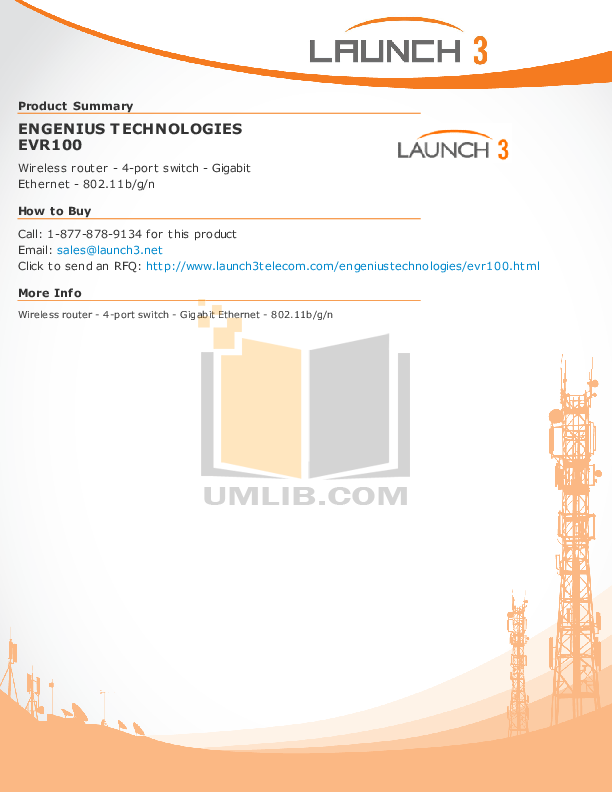pdf for EnGenius Wireless Router EVR-100 manual