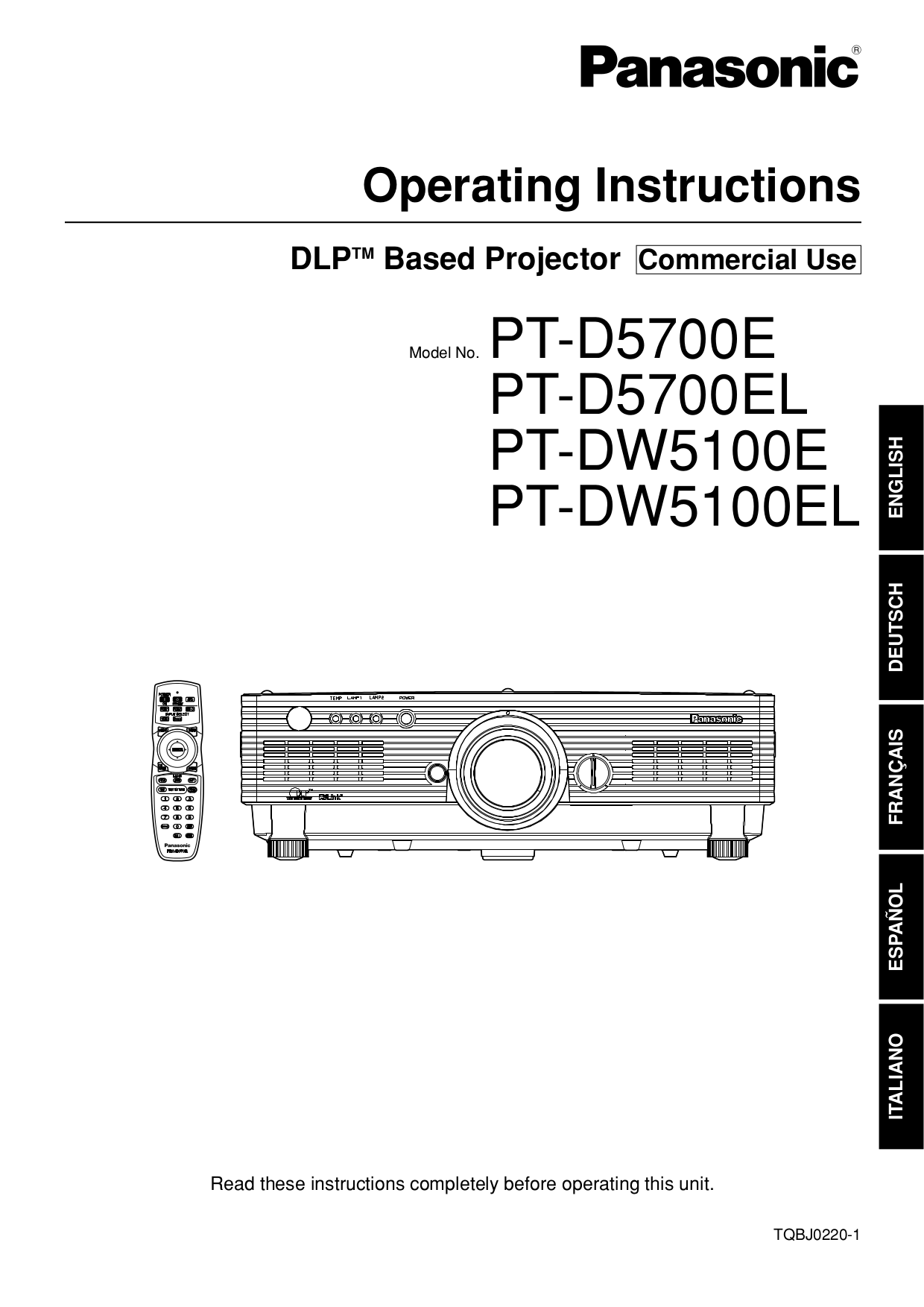 pdf for Panasonic Projector PT-D5700E manual
