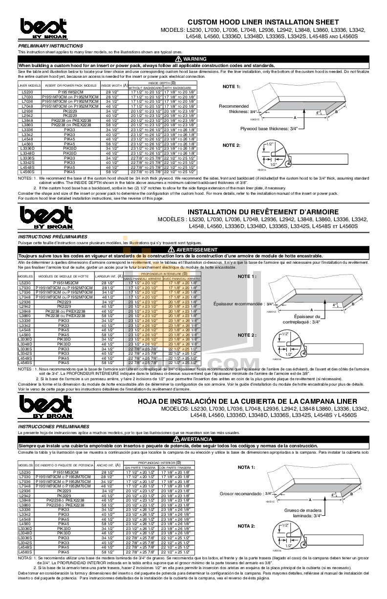 pdf for Broan-NuTone Other L3860 Hood Liners manual