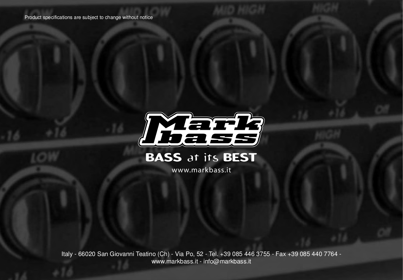 ... MarkBass Amp Little Mark Tube 800 pdf page preview