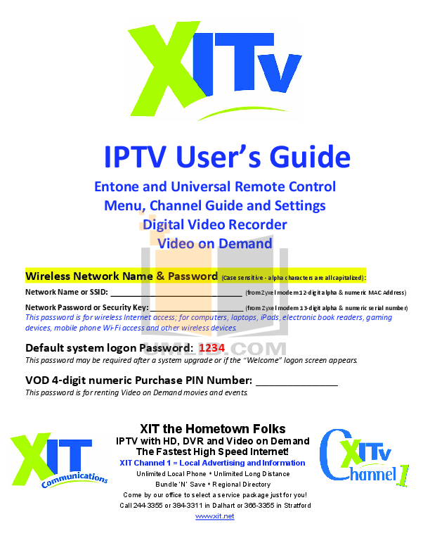 pdf for Echostar DVR PVR-5020 manual