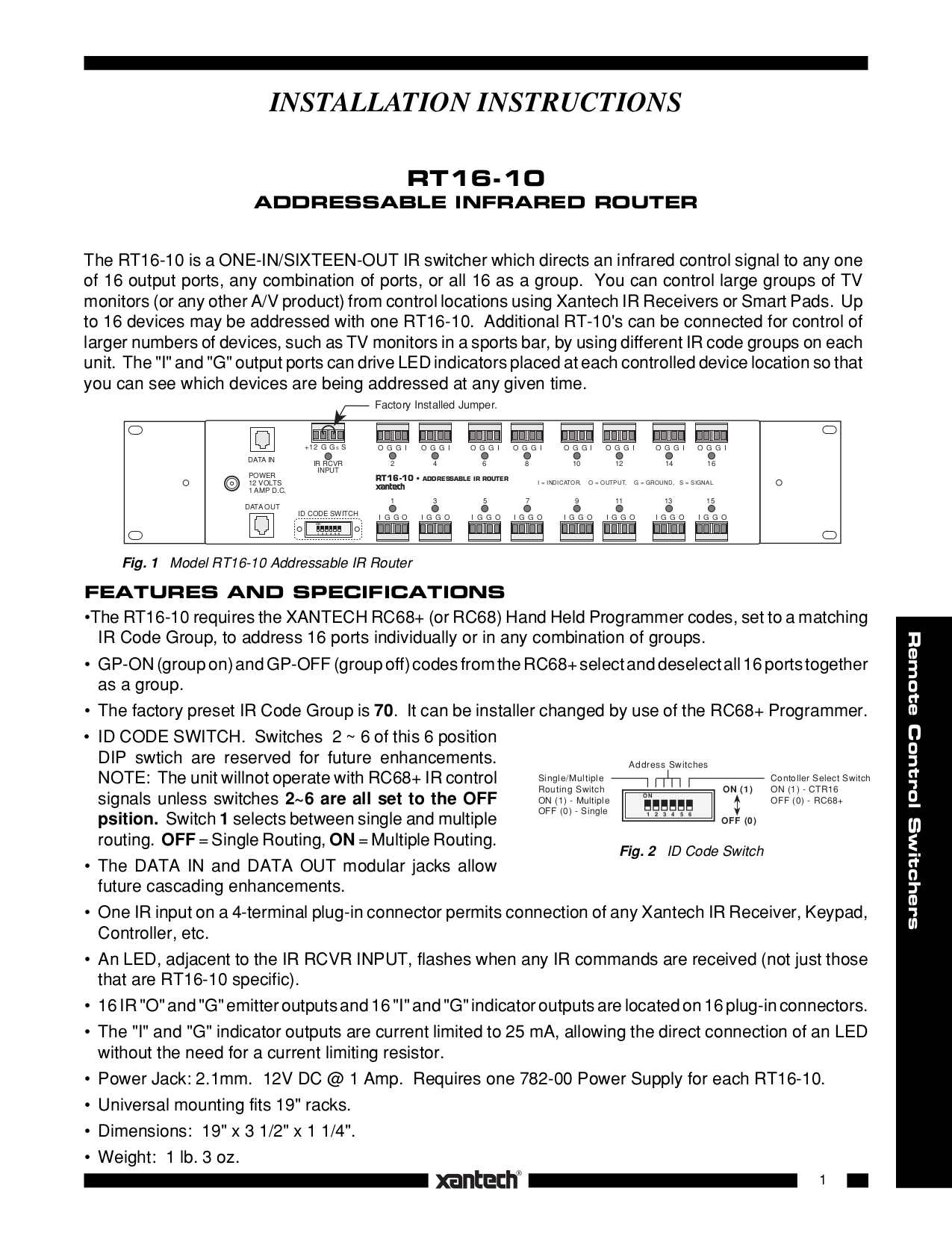 pdf for Xantech Router RT8 manual