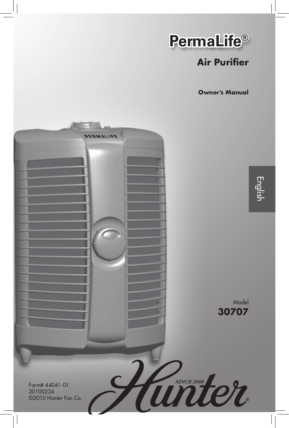 pdf for Hunter Air Purifier 30707 manual
