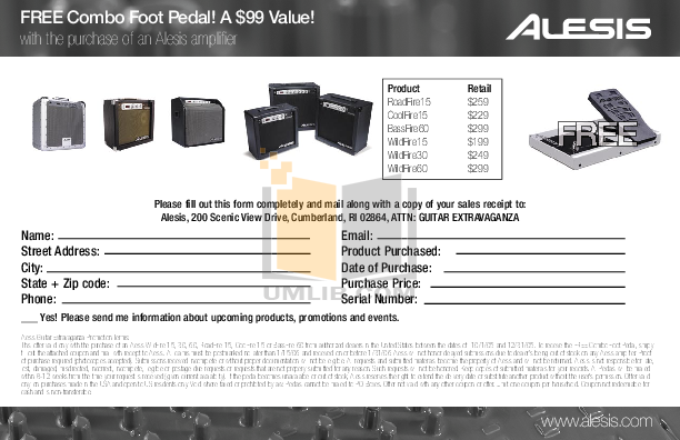 pdf for Alesis Amp BassFire 60 manual