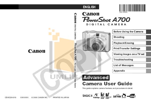 pdf for Canon Digital Camera Powershot A700 manual