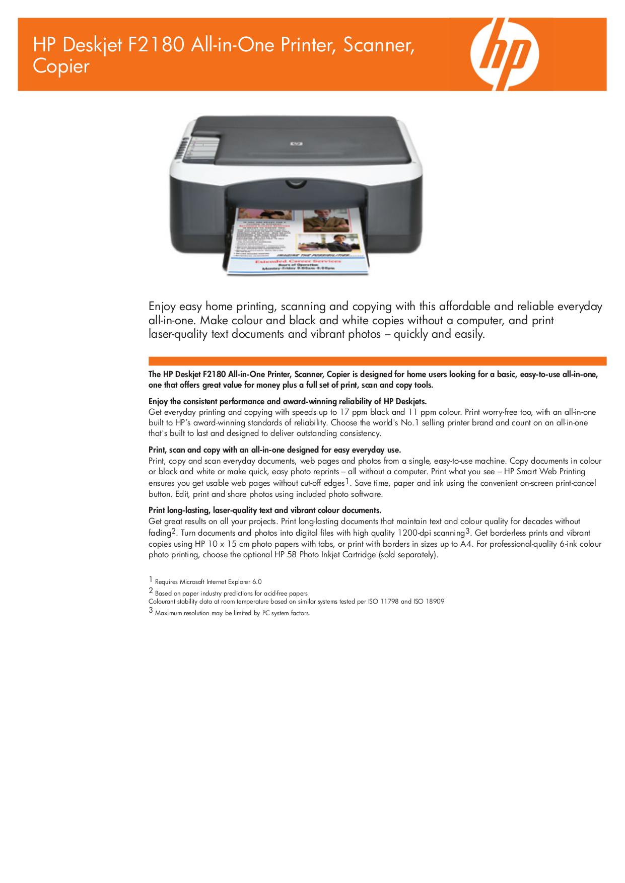 Принтера hp deskjet f2180 инструкция