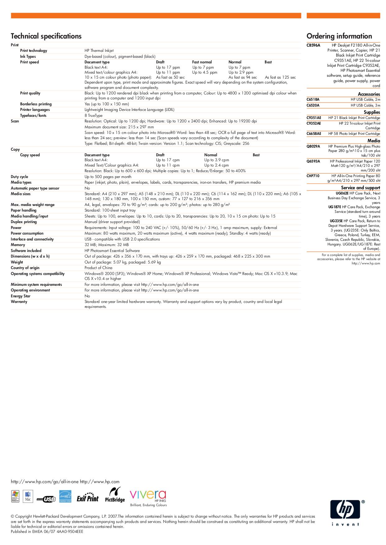 ... HP Multifunction Printer Deskjet F2180 pdf page preview