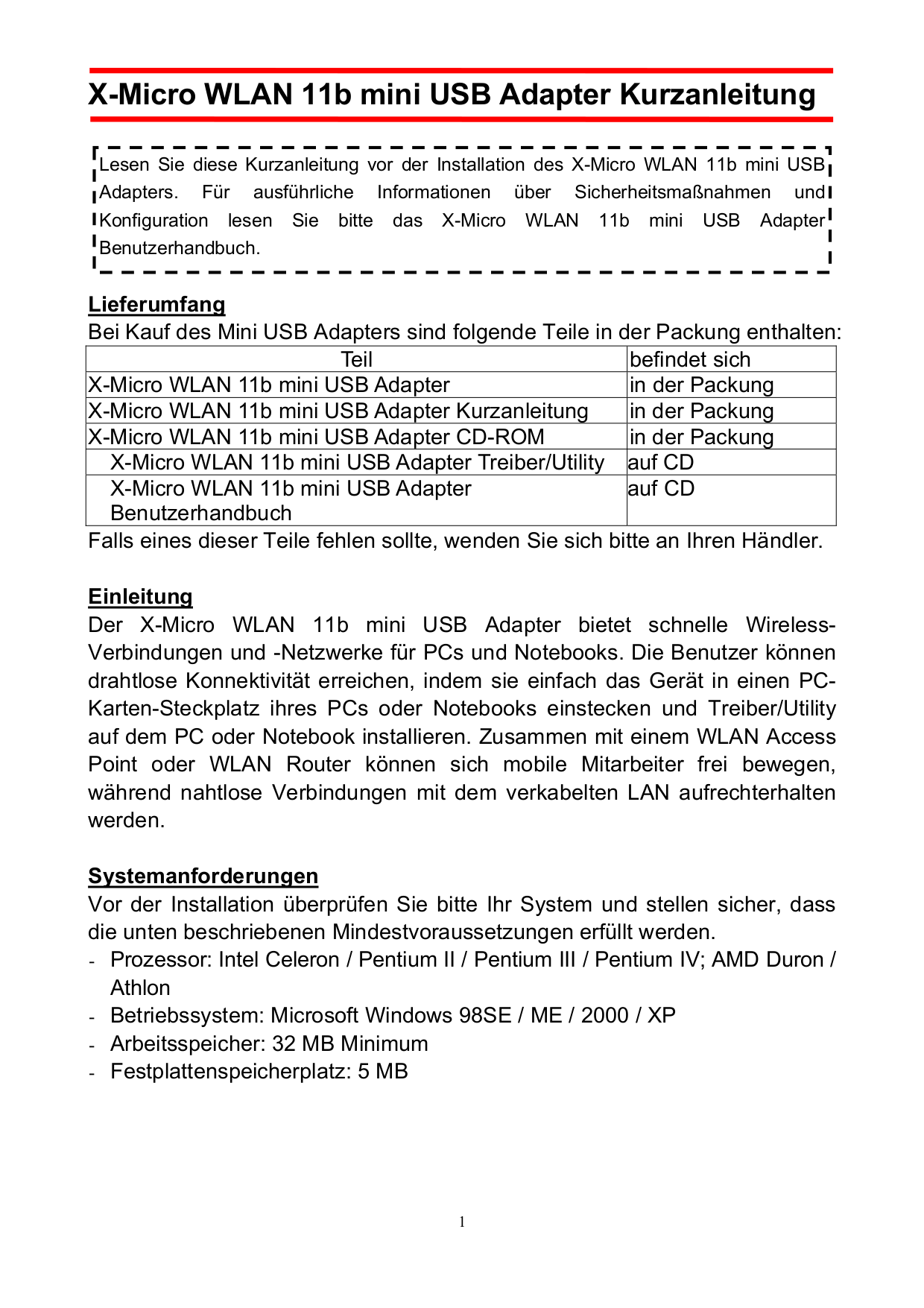 pdf for X-Micro Other XWL-11BUSX Adapters manual