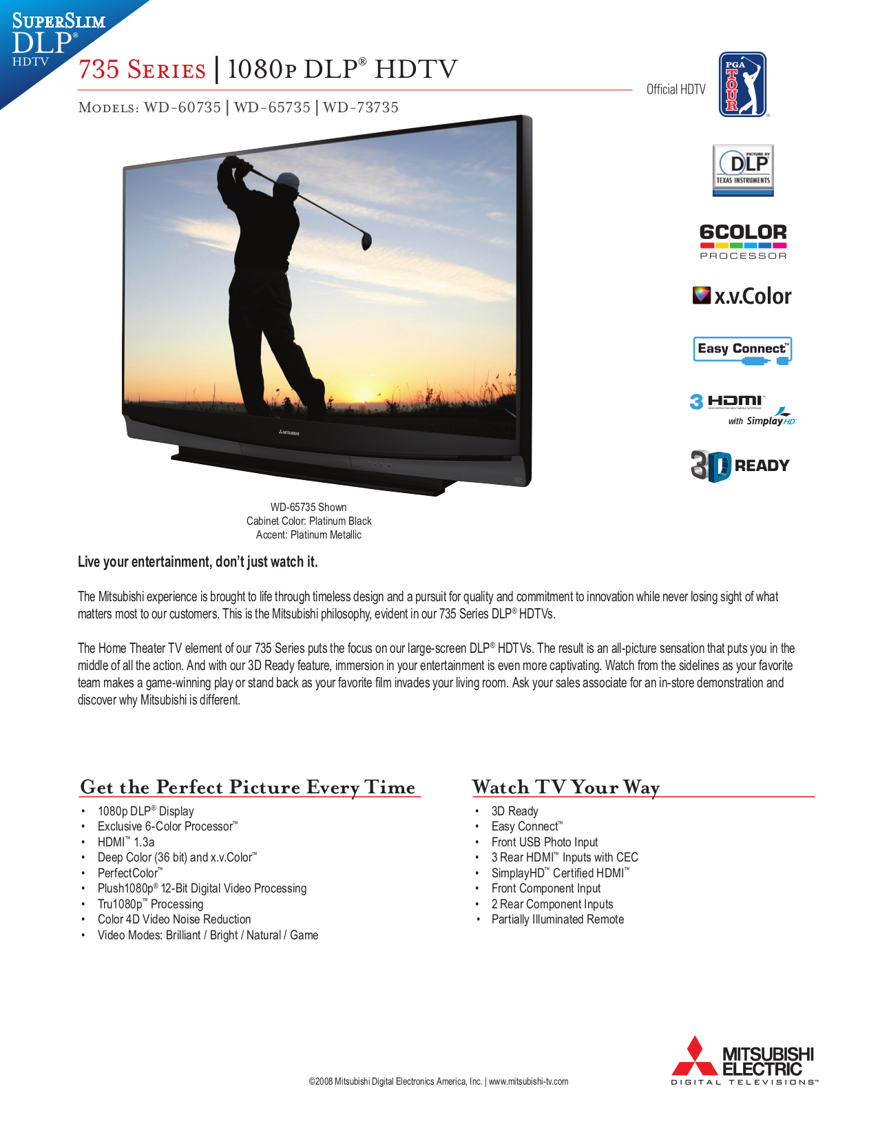 Download free pdf for Mitsubishi WD-73735 TV manual