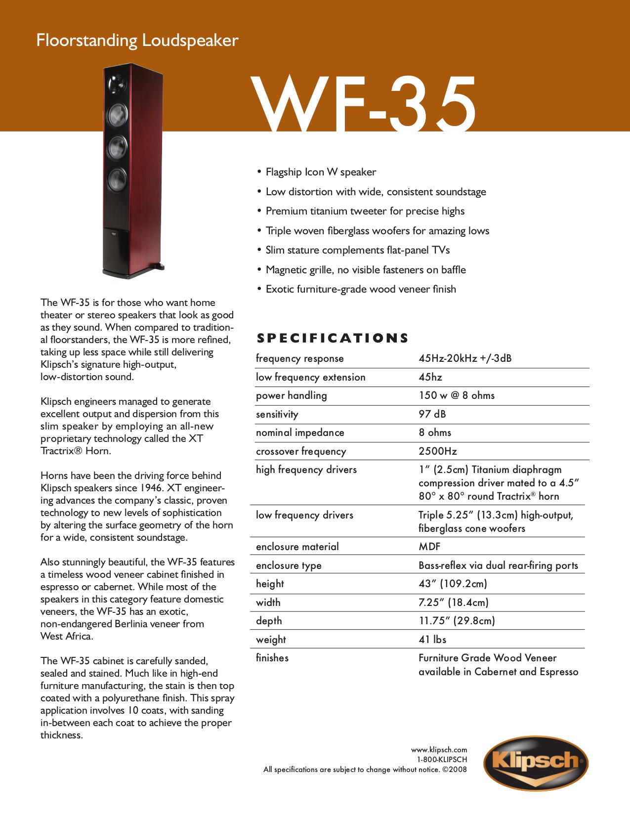 klipsch wf 35. Pdf For Klipsch Speaker WF-35 Manual Wf 35 I