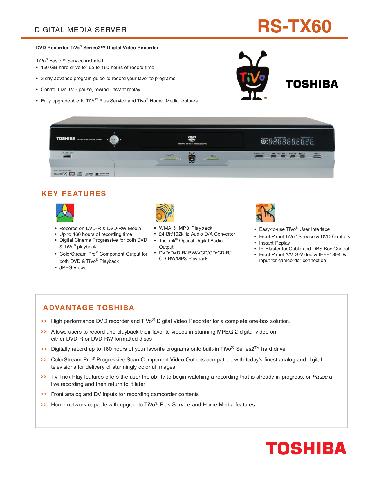 pdf for Toshiba DVR RS-TX60 manual