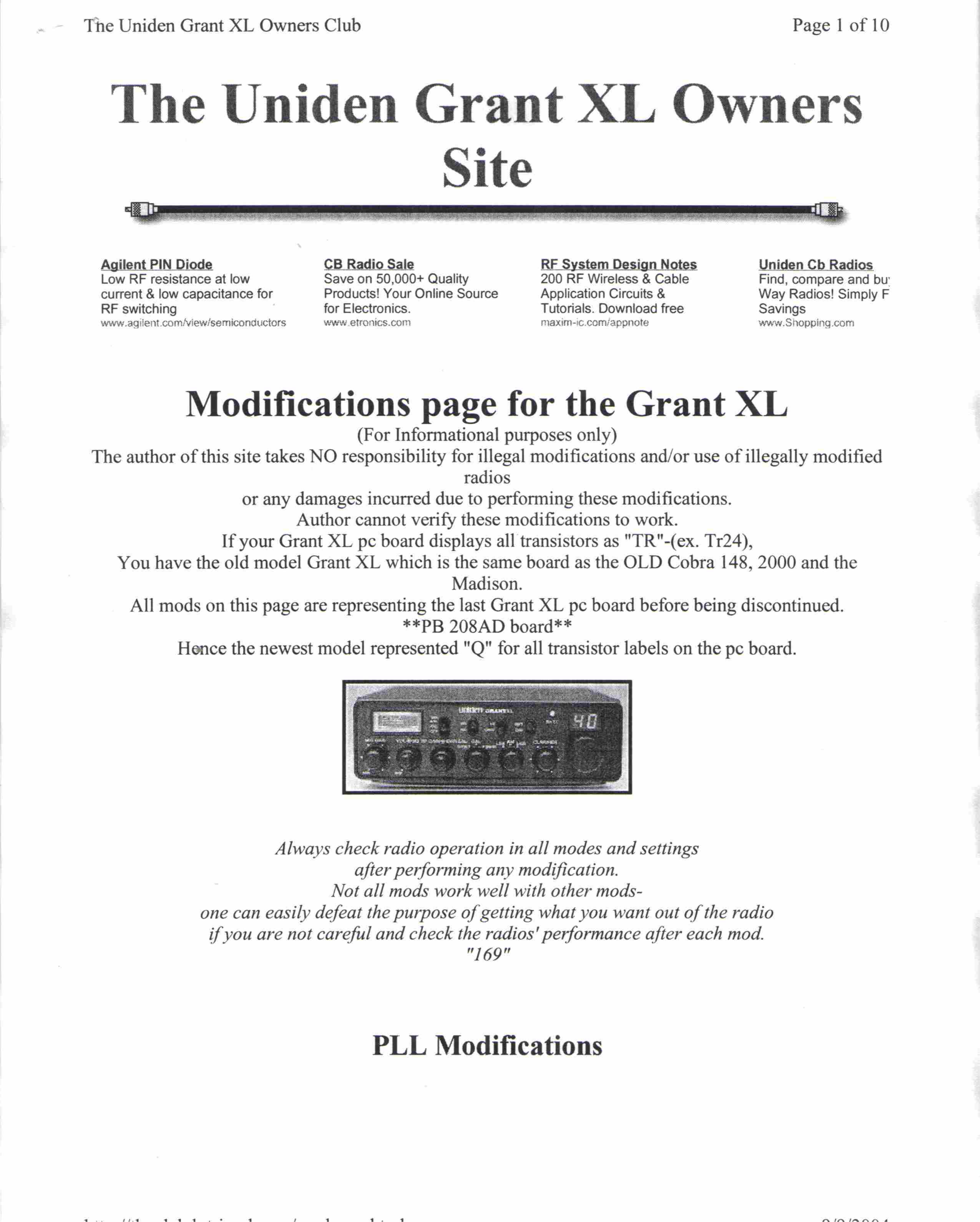 pdf for Uniden 2-way Radio GRANTLT manual