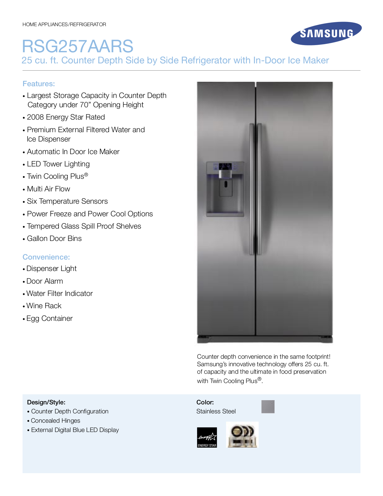 Pdf manual for samsung refrigerator rsg257aars.