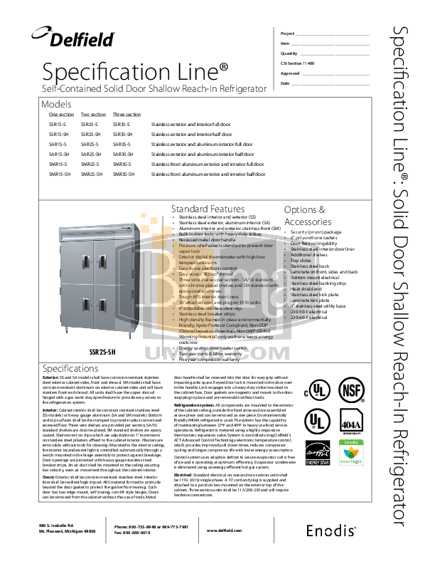 pdf for Delfield Refrigerator SAR3S-S manual