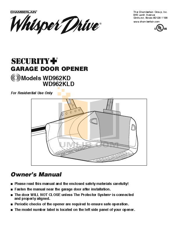 Pdf manual for chamberlain other whisper drive 459950 for Selecting a garage door opener