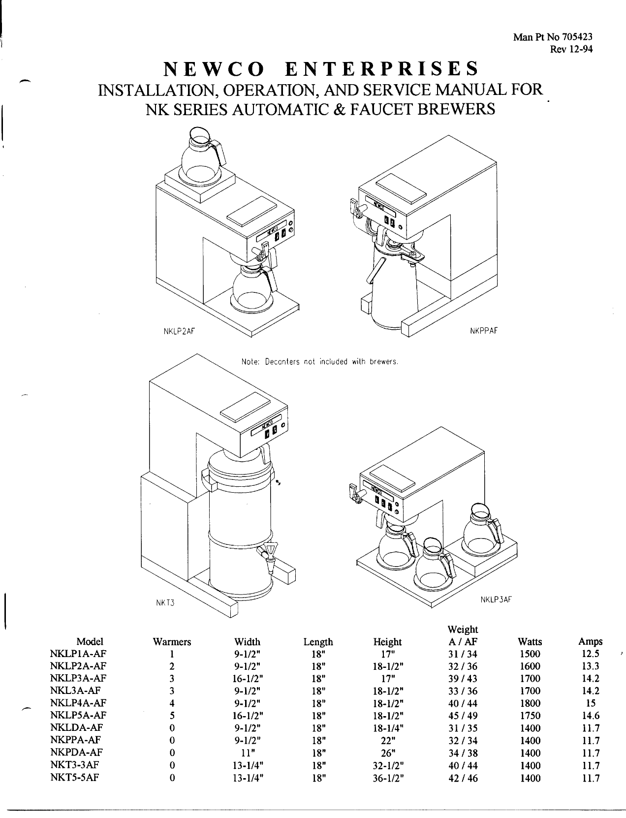 Newco Coffee Maker Service Manual : Download free pdf for Newco NKL3AF Coffee Maker manual