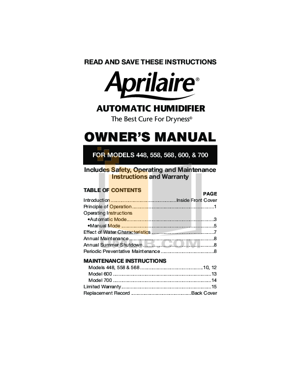 pdf for Aprilaire Humidifier 600M manual