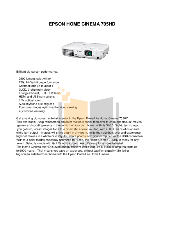 pdf for Epson Projector 705HD manual