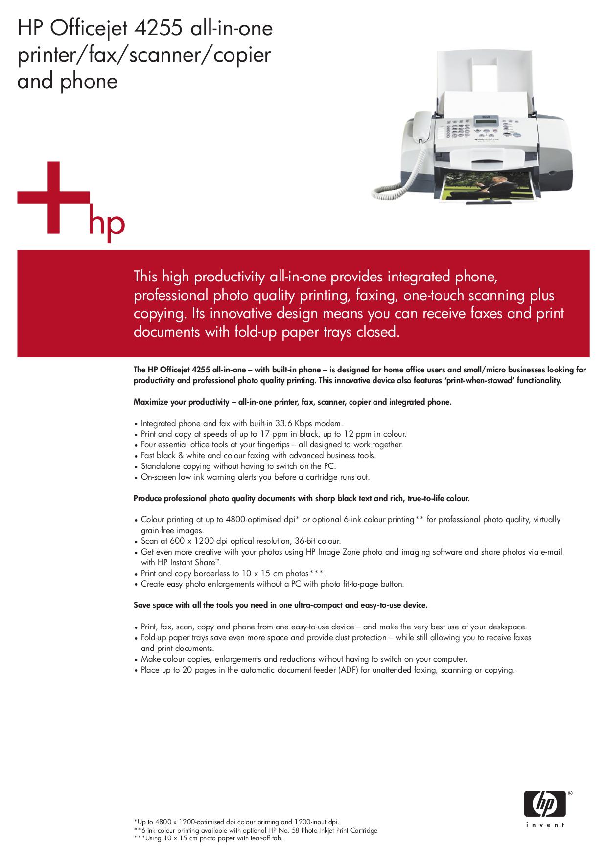 pdf for HP Multifunction Printer Officejet 4255 manual