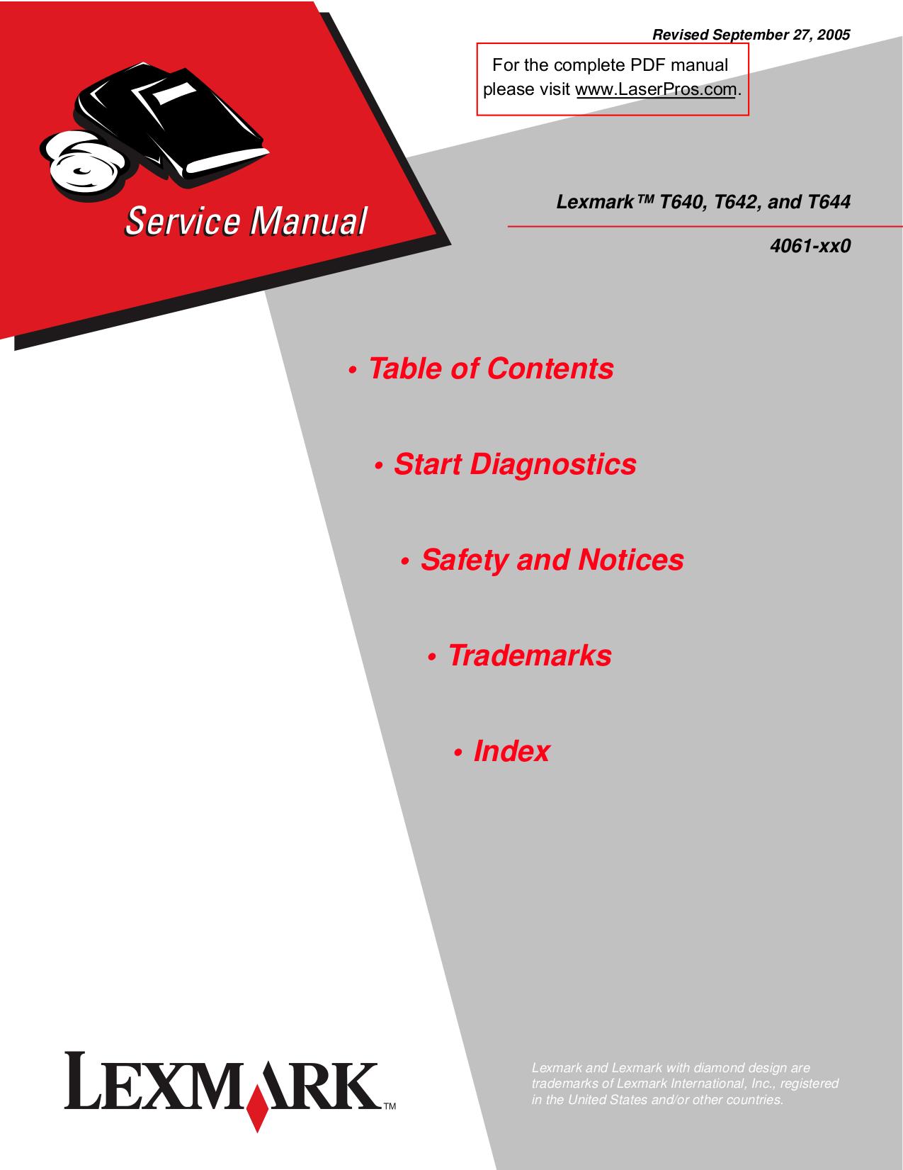 pdf for Lexmark Printer T644dtn manual