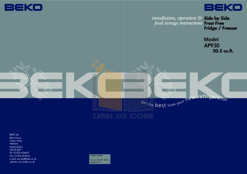 pdf for Beko Refrigerator AP930 manual
