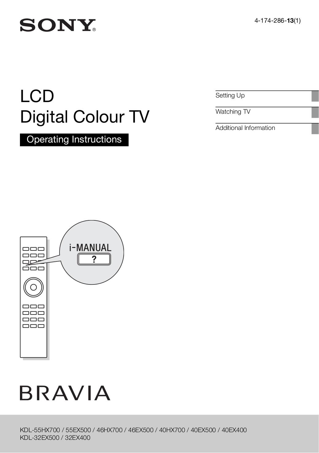 download free pdf for sony bravia kdl 55ex500 tv manual rh umlib com Sony Handycam Manual sony kdl-55ex500 manual pdf