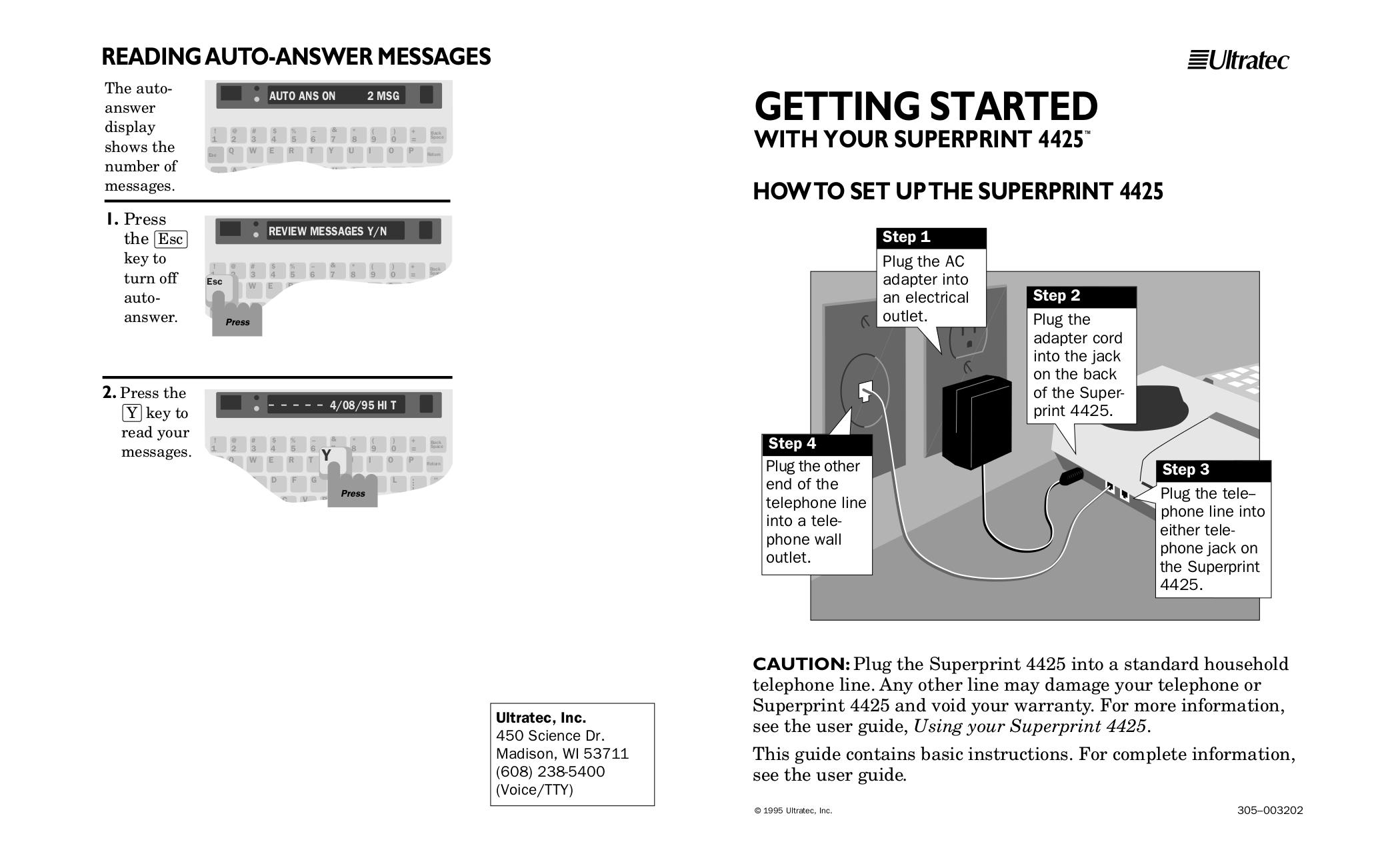 pdf for Ultratec Telephone Superprint 4425 manual