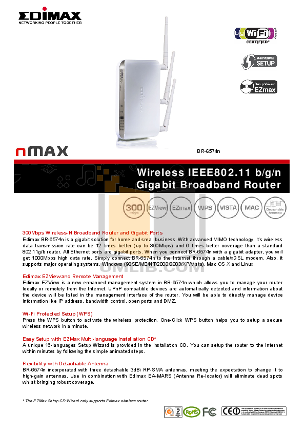 pdf for Edimax Wireless Router BR-6574n manual