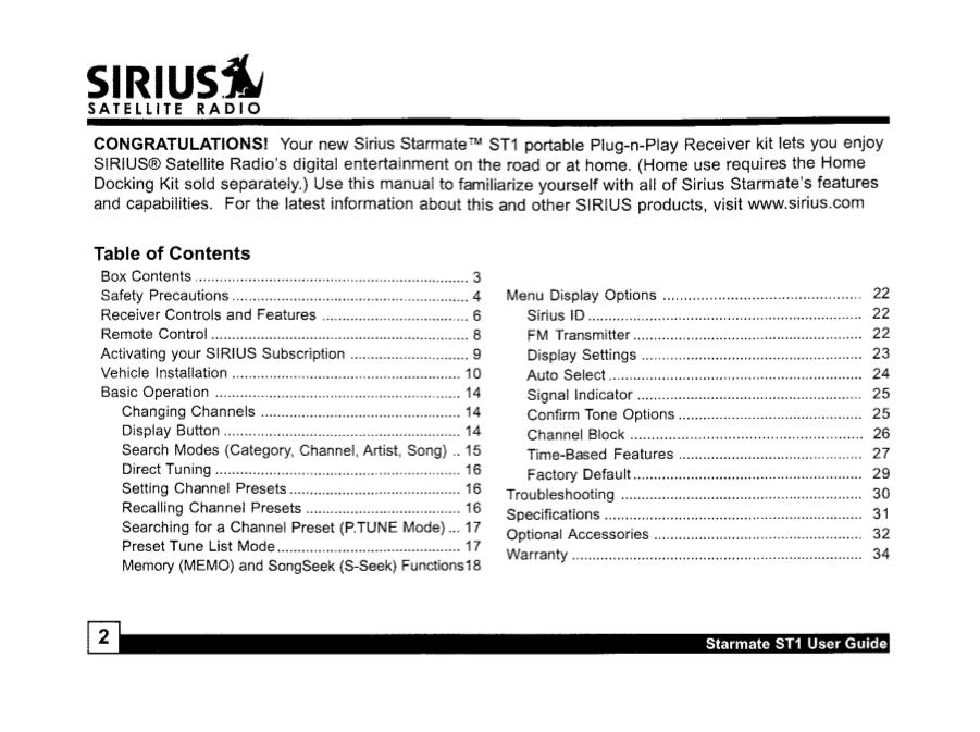 pdf manual for sirius satellite radio st1 rh umlib com Sirius Radio Vehicle Kit Sirius Boombox
