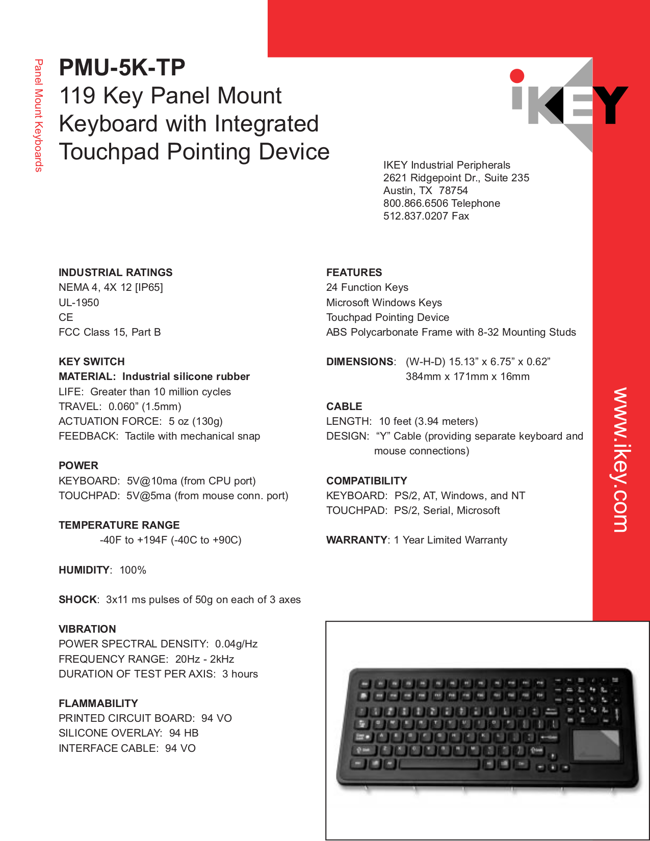 pdf for iKey Keyboard PMU-5K manual