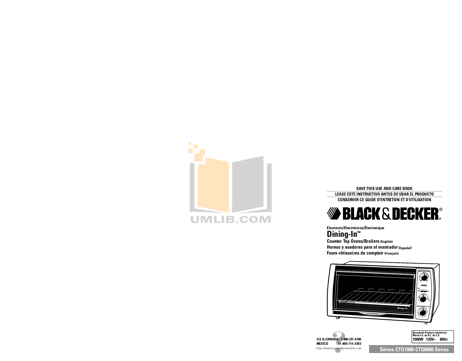 pdf for BlackAndDecker Oven CTO8000 manual