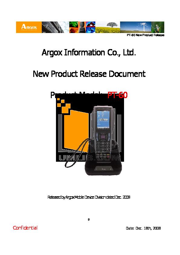 pdf for Argox PDA PT-10 manual