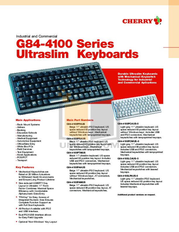 Download free pdf for Cherry G84-4100PCMUS-0 Keyboard manual
