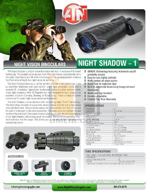 pdf for Atn Binocular Night Shadow 1 manual