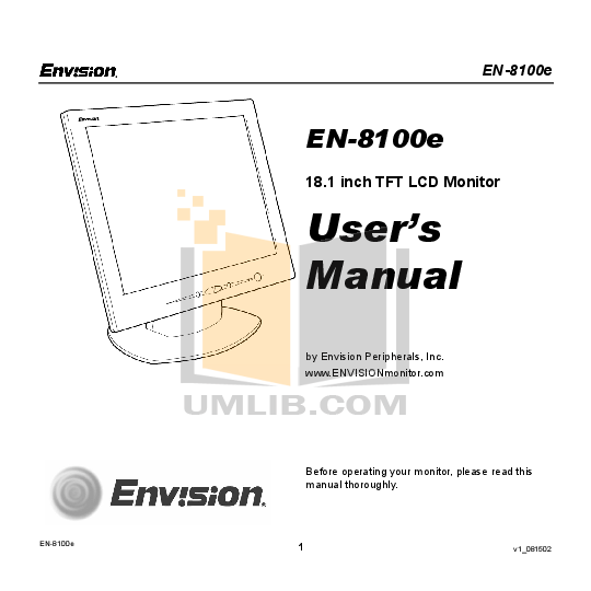 pdf for Envision Monitor EN8100e manual