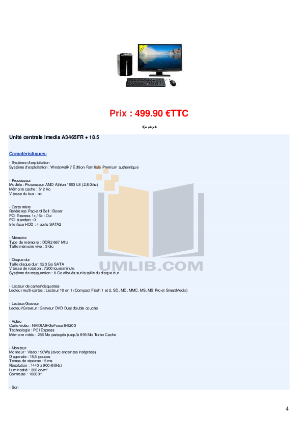 Acer Desktop Aspire T180 pdf page preview