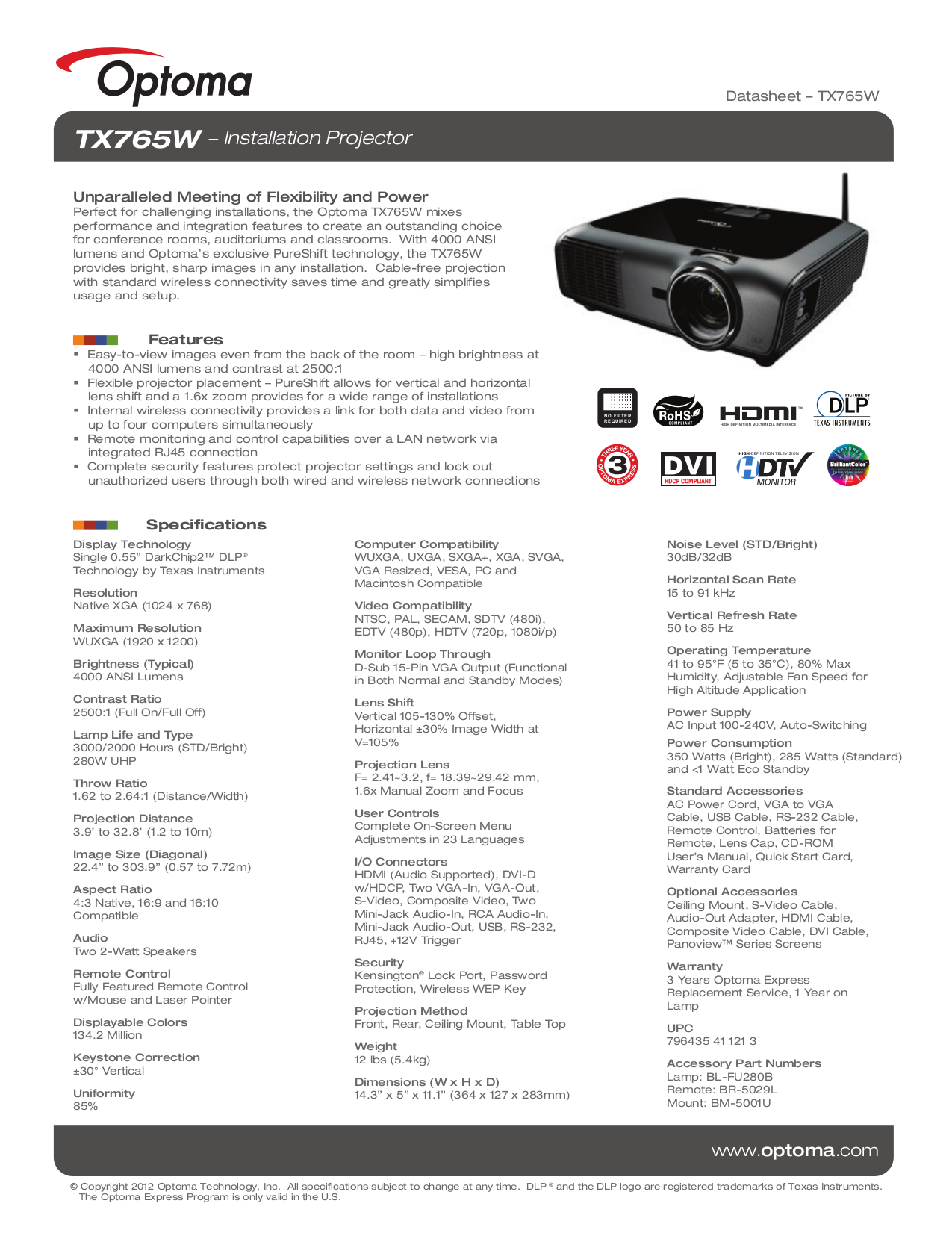 pdf for Optoma Projector TX765W manual