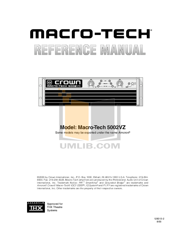pdf for Crown Other PIP-AMCB Input Processors manual