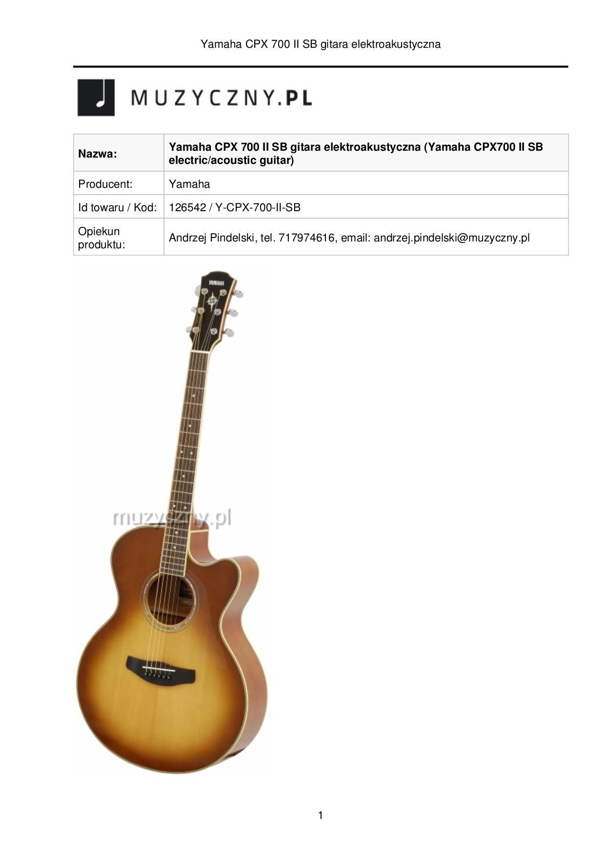 pdf for Yamaha Guitar CPX700 manual