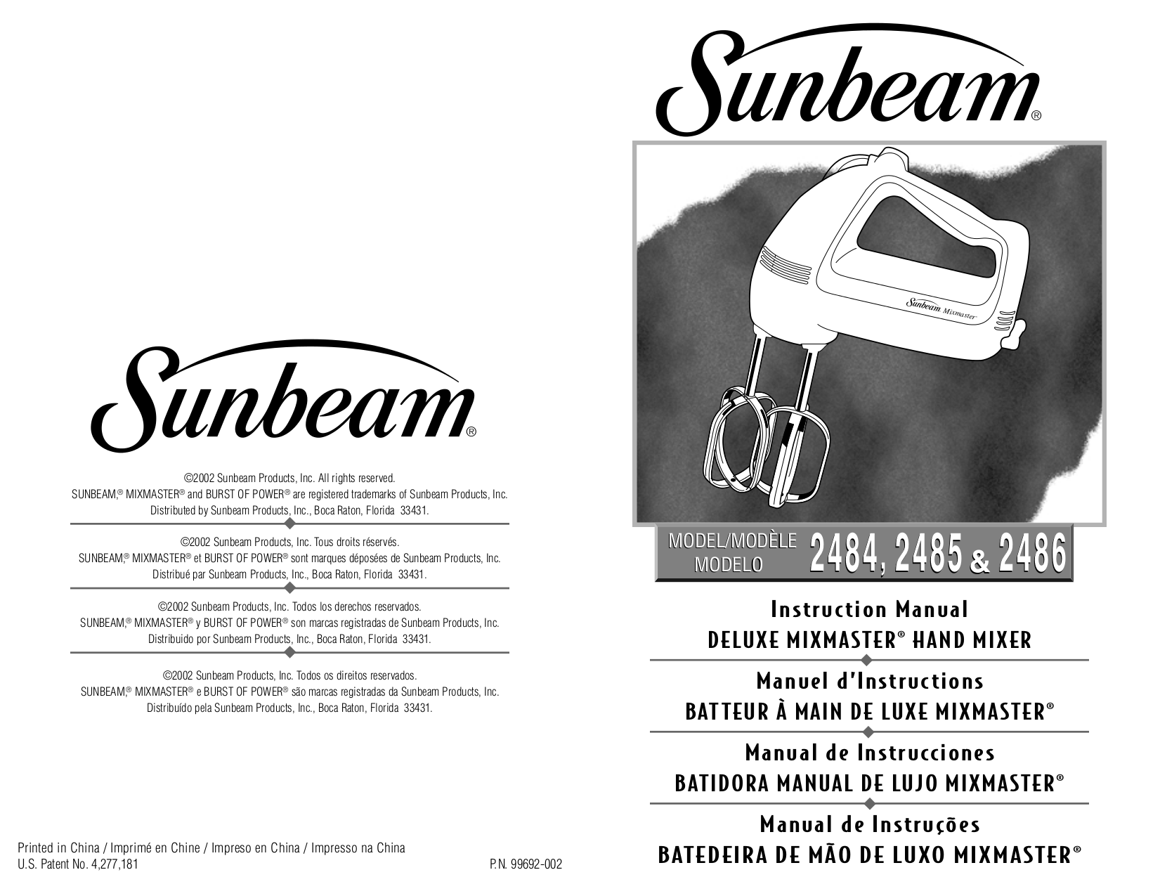 pdf for Sunbeam Other 2486 Hand Mixer manual