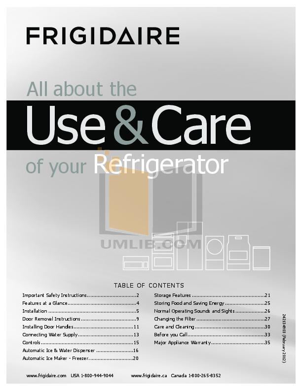 pdf for Frigidaire Refrigerator Gallery FGHF2344MF manual