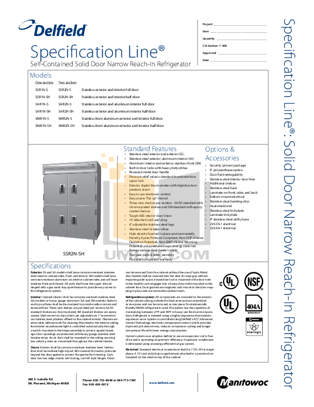 pdf for Delfield Refrigerator SAR2N-S manual